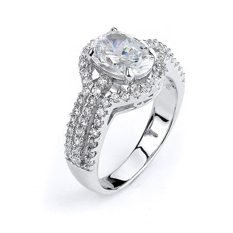 Rings $124.00 Oval Shaped 2 Carat Cz In A Triple Shank Halo Engagement Ring Big Er Halo Oval Rhodium