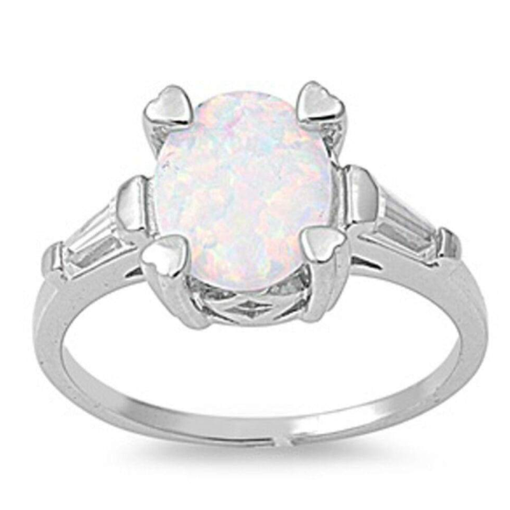 Rings $33.58 Oval White Lab Opal and Clear CZ Stone Accents Set in Sterling Silver Band 25-50, badge-toprated, clear, cubic-zirconia, cz