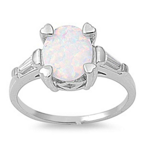 Image of Rings $33.58 Oval White Lab Opal and Clear CZ Stone Accents Set in Sterling Silver Band 25-50, badge-toprated, clear, cubic-zirconia, cz