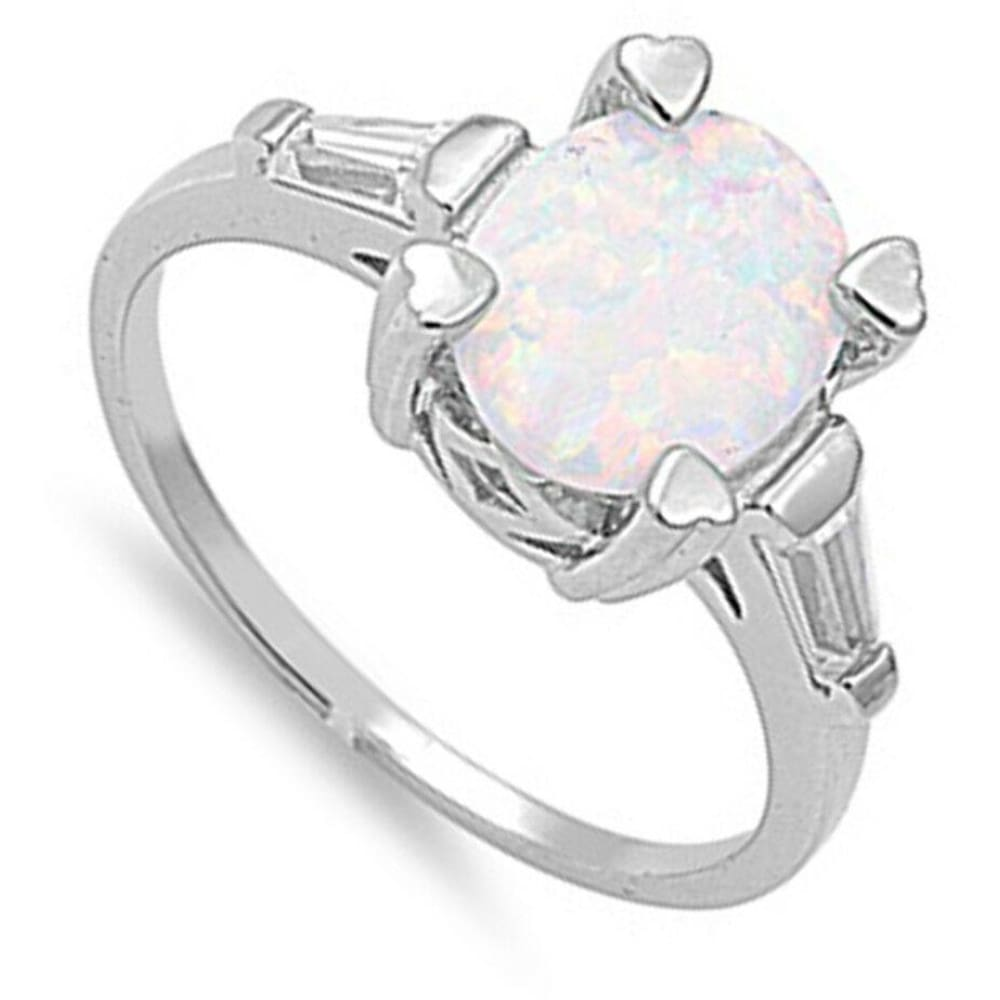 Rings $33.58 Oval White Lab Opal and Clear CZ Stone Accents Set in Sterling Silver Band clear cubic-zirconia cz heart opal