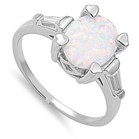 Image of Rings $33.58 Oval White Lab Opal and Clear CZ Stone Accents Set in Sterling Silver Band clear cubic-zirconia cz heart opal