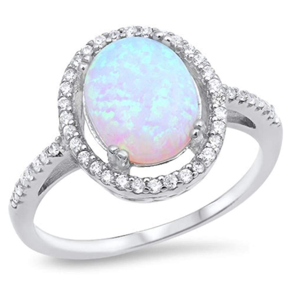 Rings $52.27 Oval White Lab Opal with Clear Cubic Zirconia Stones Halo Wedding Ring 50-100, badge-toprated, clear, cubic-zirconia, cz