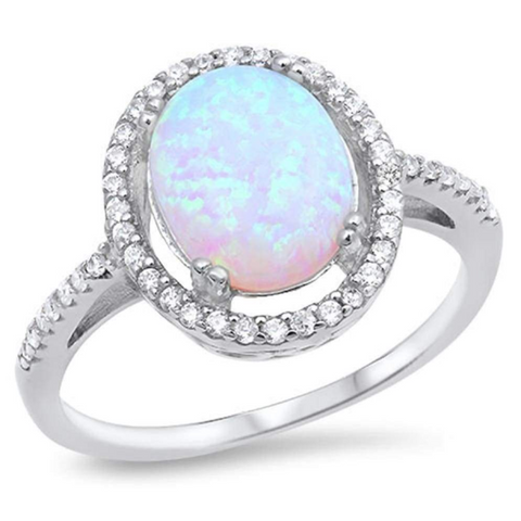 Image of Rings $52.27 Oval White Lab Opal with Clear Cubic Zirconia Stones Halo Wedding Ring 50-100, badge-toprated, clear, cubic-zirconia, cz