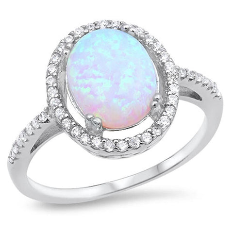 Image of Rings $52.27 Oval White Lab Opal with Clear Cubic Zirconia Stones Halo Wedding Ring clear cubic-zirconia cz halo opal