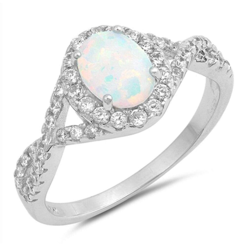 Rings $52.50 Oval White Lab Opal with Clear CZ Halo Set in a Twisted Shank Band 25-50, badge-toprated, clear, cubic-zirconia, cz
