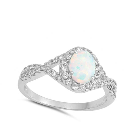 Image of Rings $31.48 Oval White Lab Opal with Clear CZ Halo Set in a Twisted Shank Band clear cubic-zirconia cz opal oval