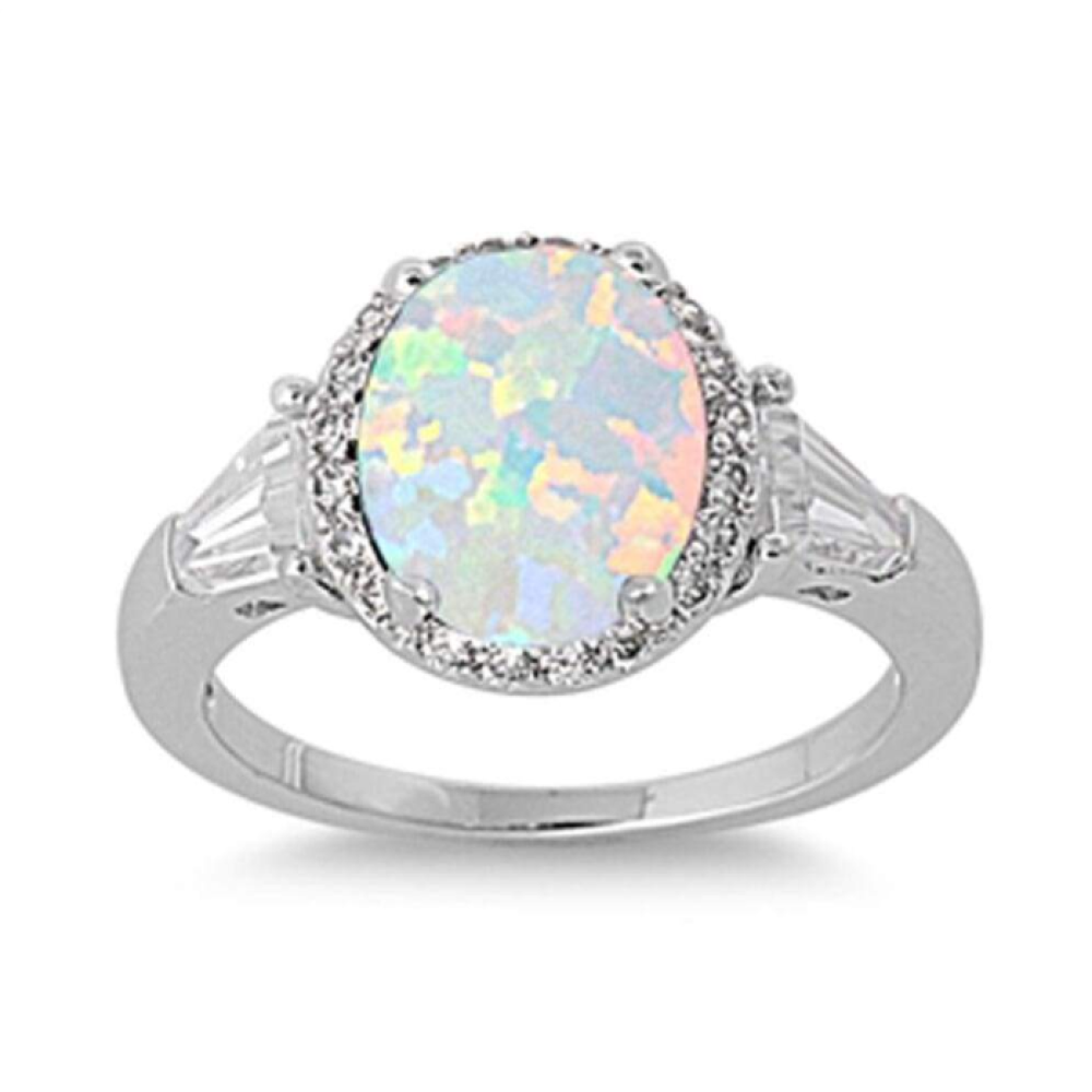 Rings $29.38 Oval White Lab Opal with Clear CZ Stone Halo and Accents Set in Sterling Silver Ring 25-50, accent, badge-toprated, clear,