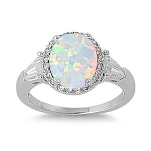 Oval White Lab Opal with Clear CZ Stone Halo and Accents Set in Sterling Silver Ring