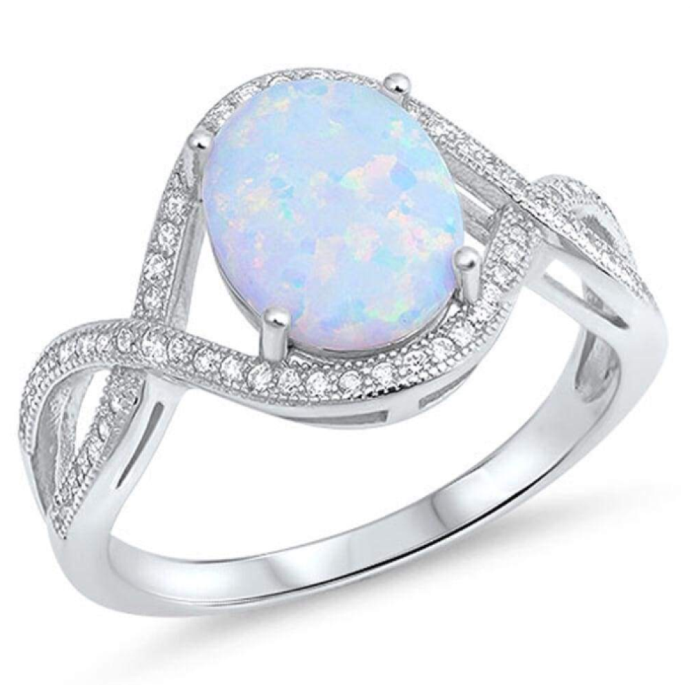 Rings $36.31 Oval White Lab Opal with Clear CZ Stones in an Infinity Design Sterling Silver Ring 25-50, badge-toprated, clear,