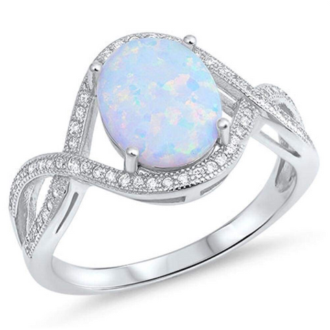 Image of Rings $36.31 Oval White Lab Opal with Clear CZ Stones in an Infinity Design Sterling Silver Ring 25-50, badge-toprated, clear,