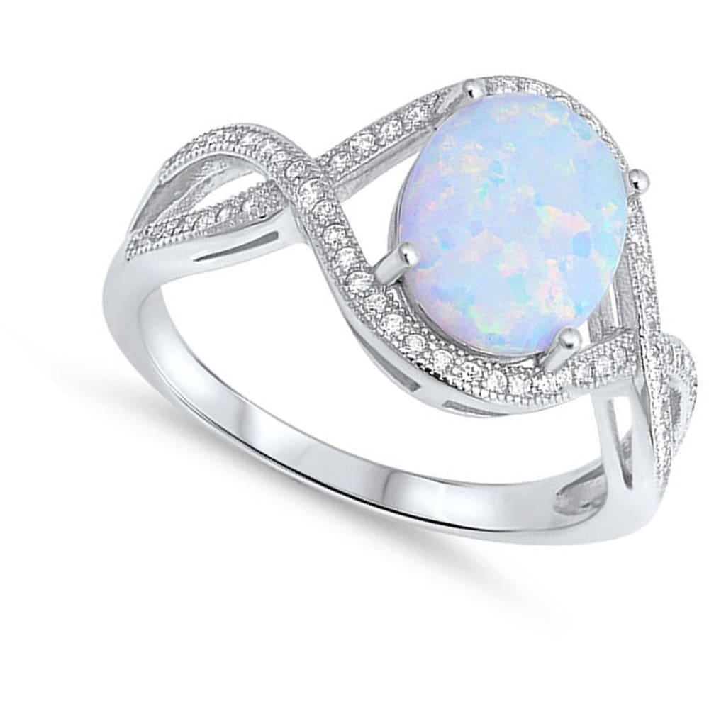 Rings $36.31 Oval White Lab Opal with Clear CZ Stones in an Infinity Design Sterling Silver Ring clear cubic-zirconia cz opal white