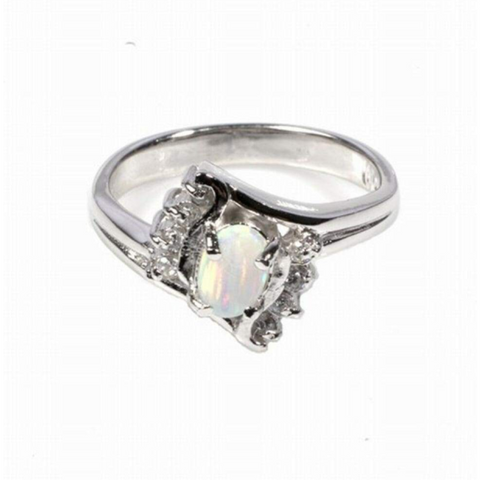 Rings $74.65 Oval White Opal with 8 Round Cubic Zirconia Stone Size 5 25-50, badge-toprated, cubic-zirconia, cz, opal