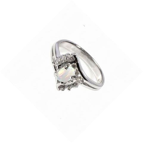 Image of Rings $47.89 Oval White Opal with 8 Round Cubic Zirconia Stone Size 5 cz opal rings size-5 white