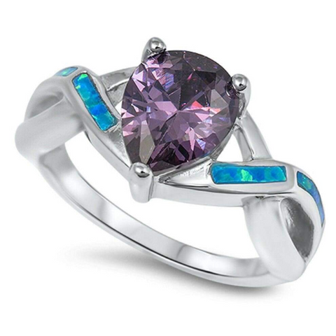 Rings $40.30 Pear Cut Purple Amethyst CZ with Twisted Blue Opal Band 25-50, badge-toprated, cubic-zirconia, cz, opal