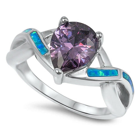 Rings $40.30 Pear Cut Purple Amethyst CZ with Twisted Blue Opal Band color-simulated-amethyst cz opal pear purple
