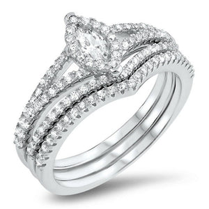 Rings $52.78 Petite Halo Marquise Engagement Ring with 2 Matching Curved Bands Bridal Sets cz er halo marquise