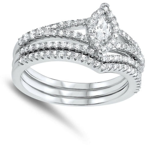 Image of Rings $52.78 Petite Halo Marquise Engagement Ring with 2 Matching Curved Bands Bridal Sets cz er halo marquise