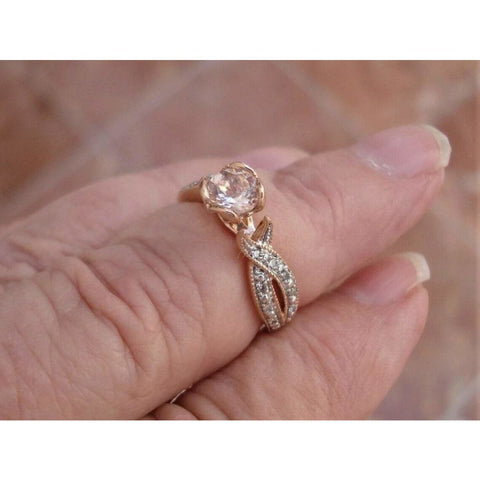 Image of Rings $415 Petite Morganite and Diamond Twist in a Heart Shaped Prong Setting 14K Rose Gold Ring