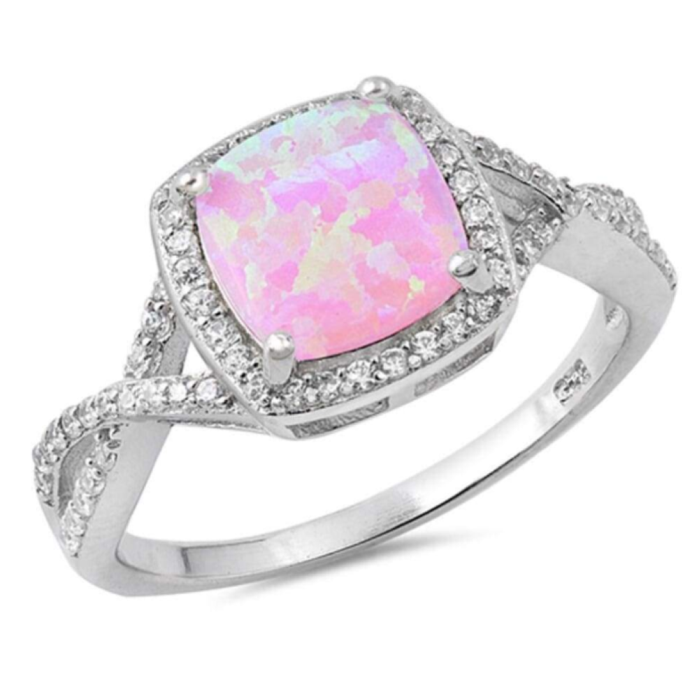Rings $31.48 Pink Lab Opal Halo and Infinity Design with CZ Stones Set in the Sterling Silver Band 25-50, badge-toprated, clear,