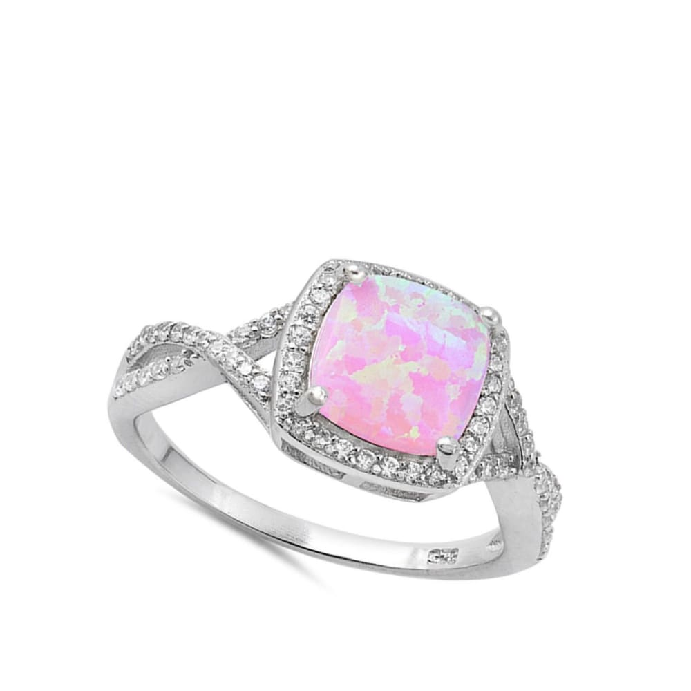Rings $31.48 Pink Lab Opal Halo and Infinity Design with CZ Stones Set in the Sterling Silver Band clear cubic-zirconia cz halo infinity