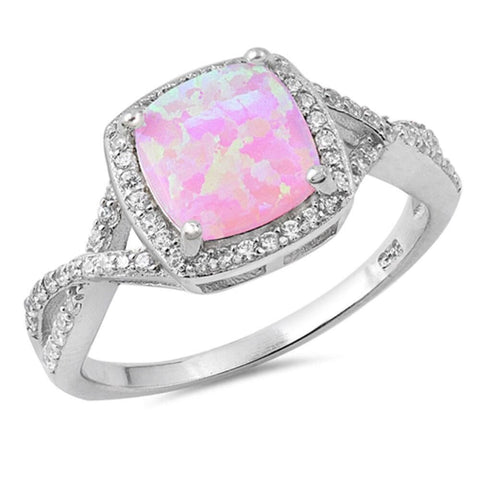 Image of Rings $31.48 Pink Lab Opal Halo and Infinity Design with CZ Stones Set in the Sterling Silver Band clear cubic-zirconia cz halo infinity