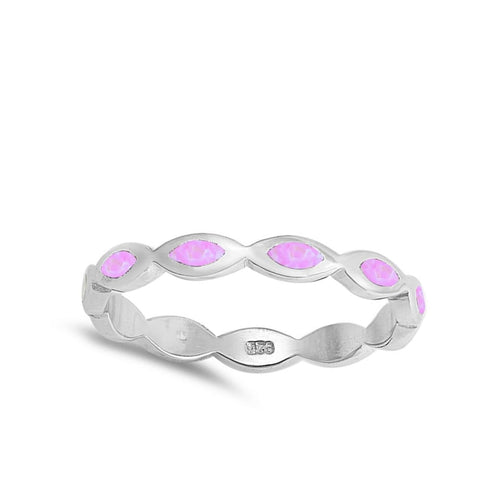 Image of Rings $32.95 Pink Lab Opal Marquise Pattern Set in Stackable Sterling Silver Ring marquise opal pink
