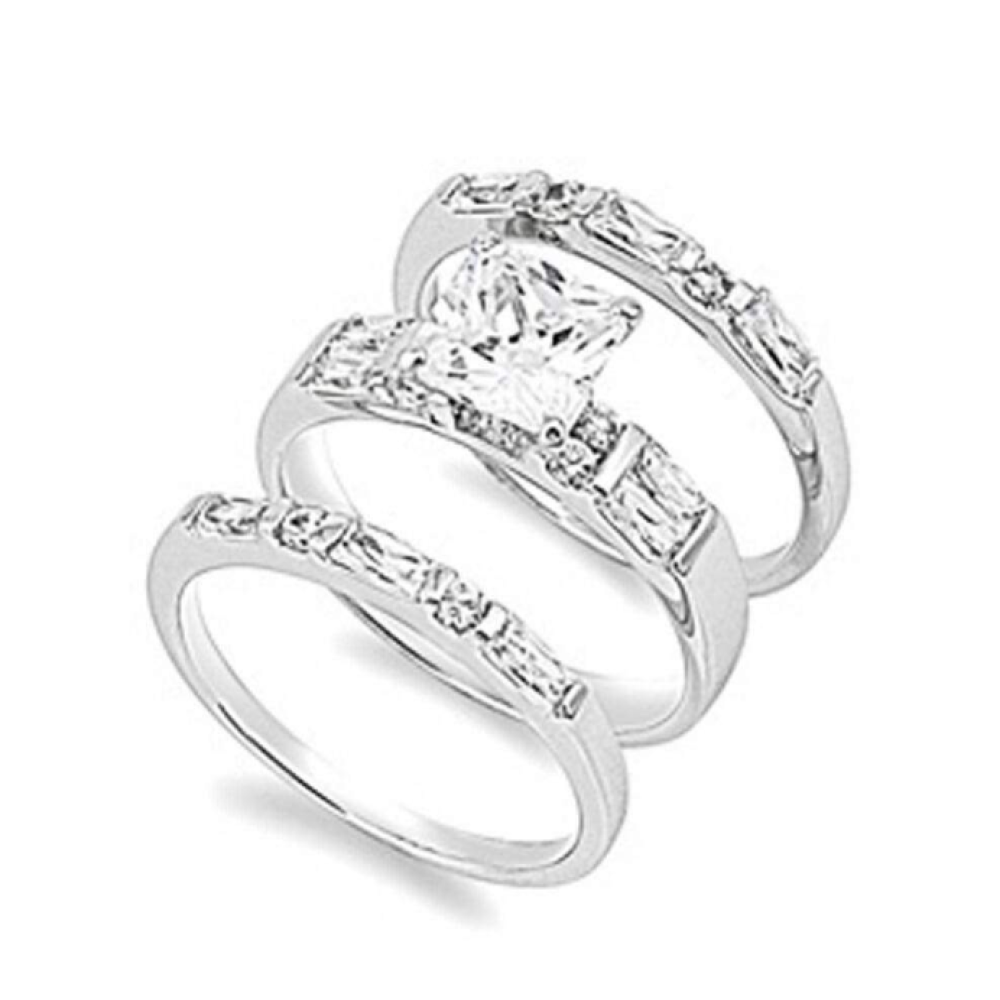 Stainless Steel Wedding Engagement Ring Set with Round and Baguette cz Zirconia Swirl 2 Ring set