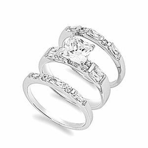 Princess Cut Engagement Ring Set with Baguette and Round Band Set of 3 Matching Rings