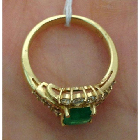 Image of Rings $999.99 Princess Cut Green Emerald Ring With Round And Baguette Diamonds 14K Baguette Green Halo Princess Yg