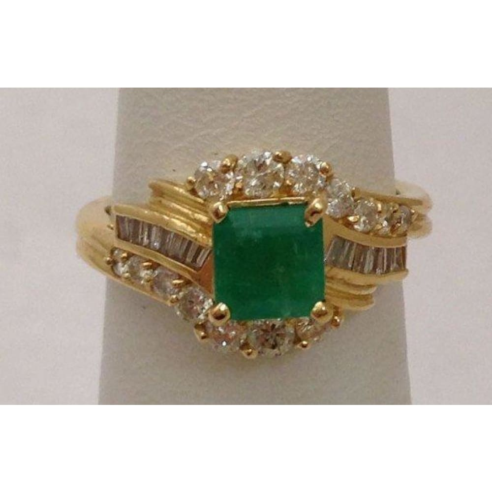 Rings $999.99 Princess Cut Green Emerald Ring With Round And Baguette Diamonds 14K Baguette Green Halo Princess Yg