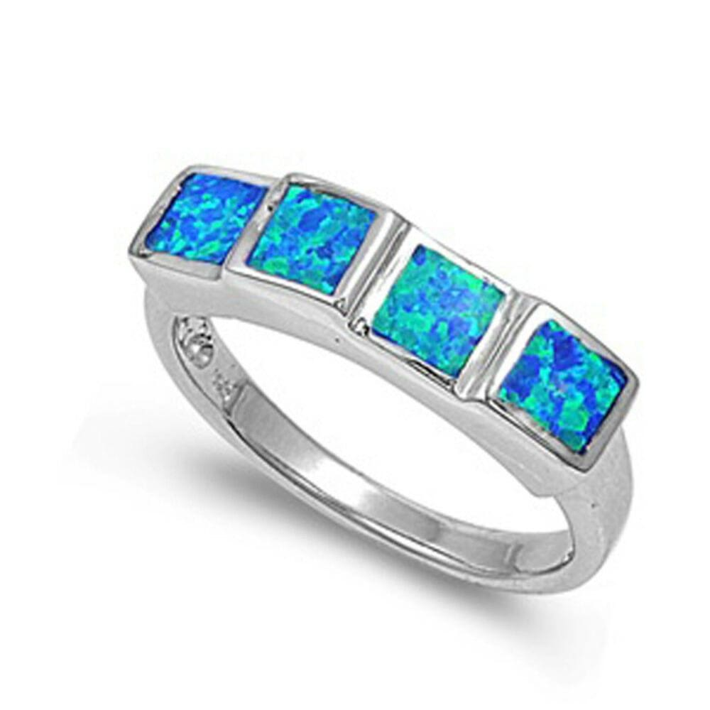 Rings $46.99 Princess Cut Square Blue Opal Band Sterling Silver Statement Ring band blue opal