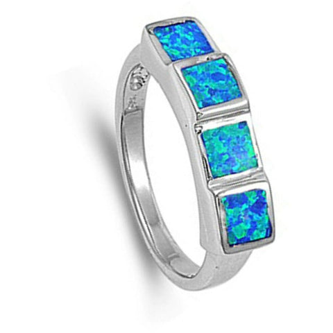 Image of Rings $46.99 Princess Cut Square Blue Opal Band Sterling Silver Statement Ring band blue opal