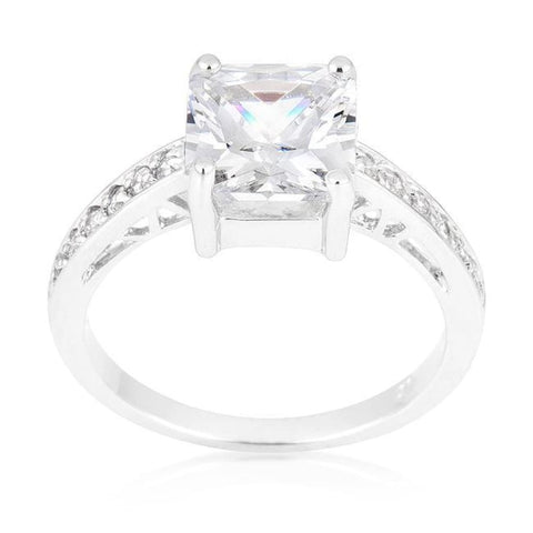 Image of Rings $45.00 Princess Cut Square Solitaire Isabella 2 Carat Engagement Ring JGI 2 carat cz er premium princess