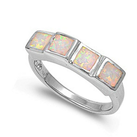 Rings $61.09 Princess Cut Square White Opal Band Sterling Silver Statement Ring 25-50, badge-toprated, band, opal, rings