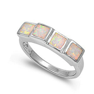 Princess Cut Square White Opal Band Sterling Silver Statement Ring