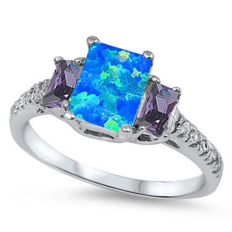 Image of Rings $51.36 Rectangle Blue Lab Opal with CZ Accent Stones Set in Sterling Silver Band Size 5-11 25-50, amethyst, badge-toprated, blue,