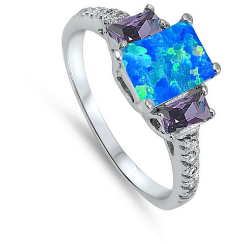 Rings $30.64 Rectangle Blue Lab Opal with CZ Accent Stones Set in Sterling Silver Band Size 5-11 25-50 amethyst blue clear cubic-zirconia