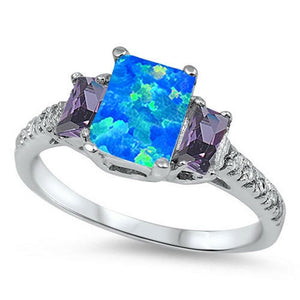 Rectangle Blue Lab Opal with CZ Accent Stones Set in Sterling Silver Band Size 5-11
