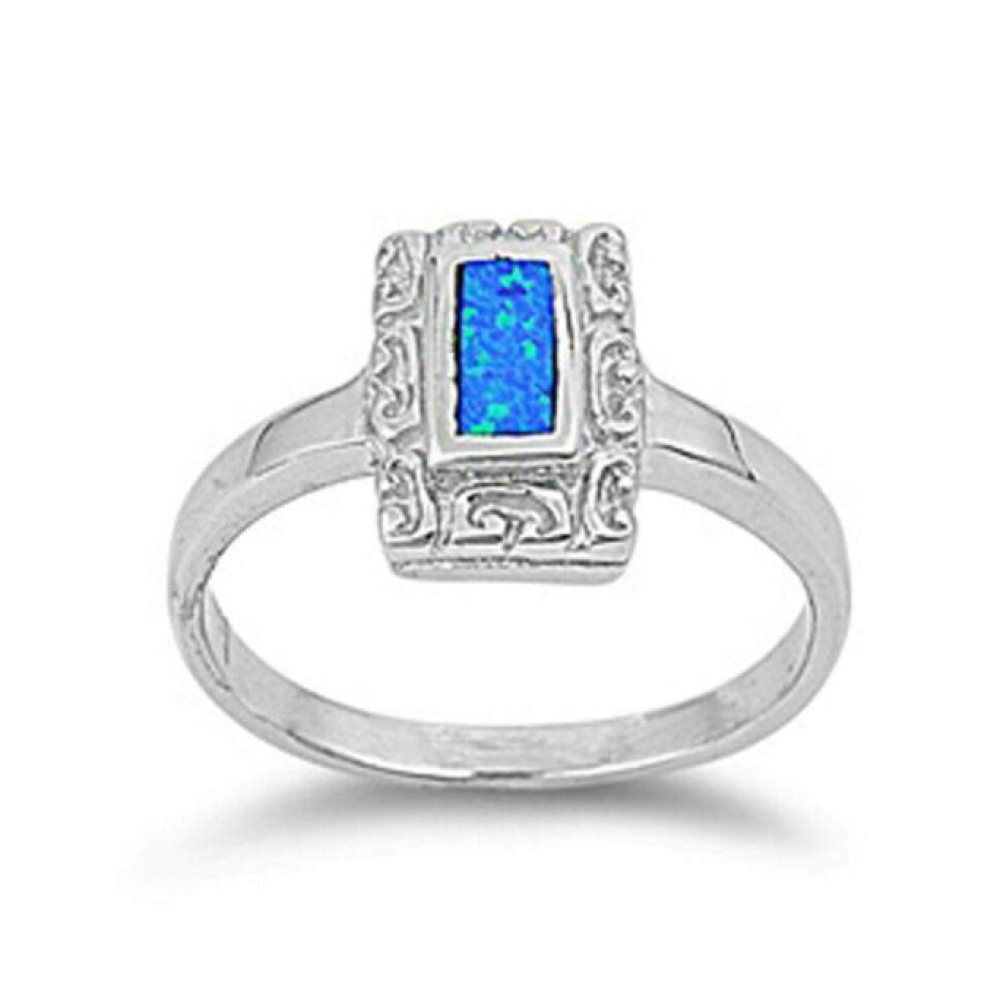 Rings $59.59 Rectangle Blue Lab Opal with Unique Swirl Pattern in Sterling Silver Band 25-50, badge-toprated, blue, er, opal