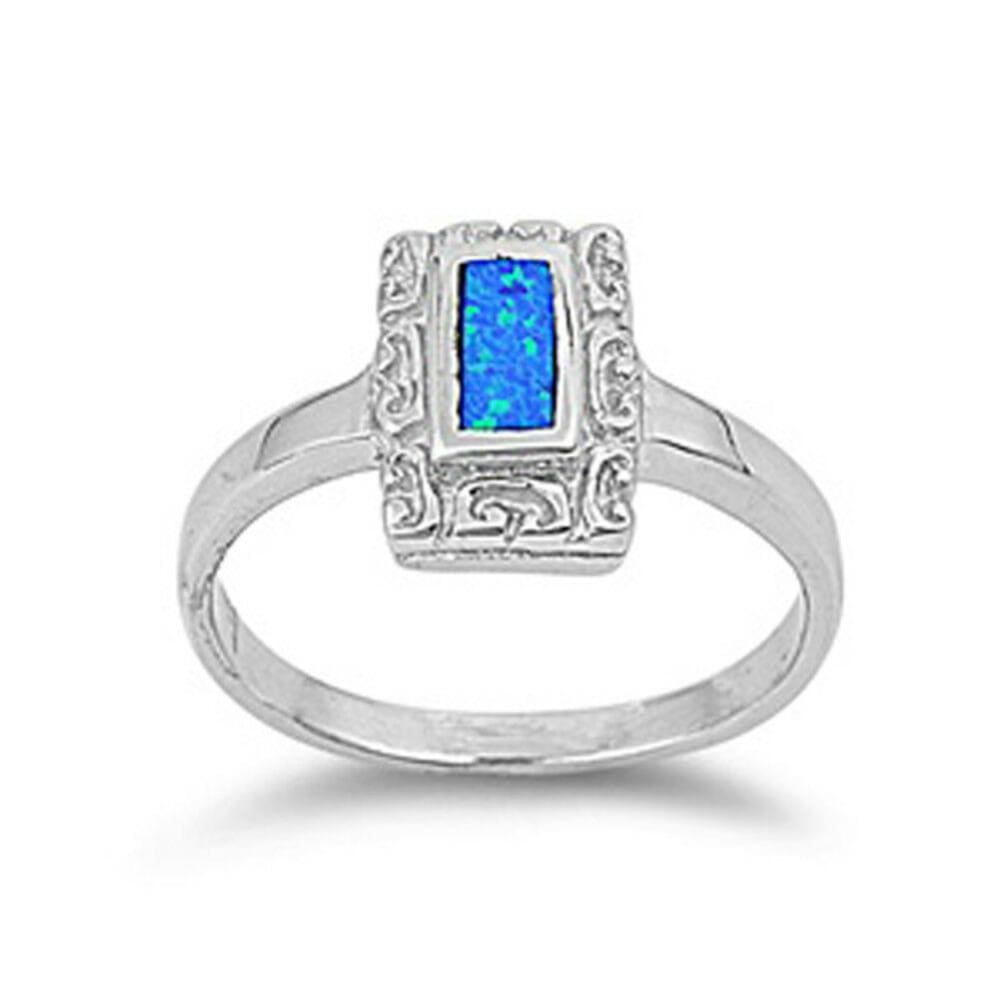 Rings $36.73 Rectangle Blue Lab Opal with Unique Swirl Pattern in Sterling Silver Band blue opal rectangle