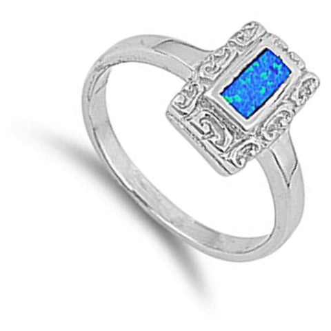 Image of Rings $36.73 Rectangle Blue Lab Opal with Unique Swirl Pattern in Sterling Silver Band blue opal rectangle