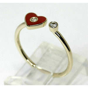 Red Heart with Diamond Open Ring 14K Yellow Gold - 6.75