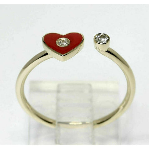 Rings $414 Red Heart with Diamond Open Ring 14K Yellow Gold - 6.75