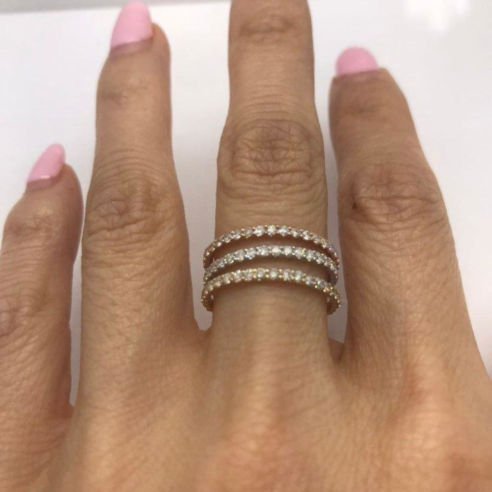 Rings $499.99 Rose Gold Diamond Band - Extra Sparkly 26 Diamonds 0.39 Ctw Stacking Or Wedding Band 2Mm Band Rg Yg