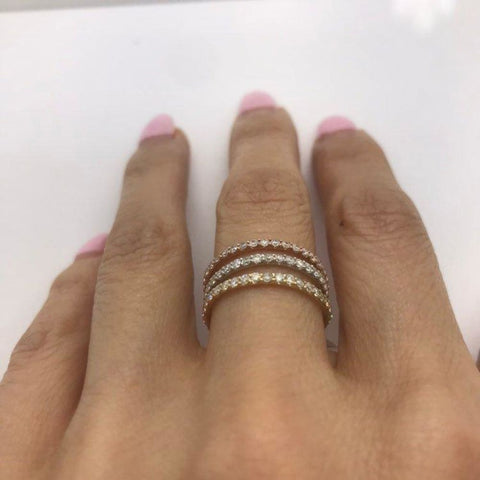 Image of Rings $499.99 Rose Gold Diamond Band - Extra Sparkly 26 Diamonds 0.39 Ctw Stacking Or Wedding Band 2Mm Band Rg Yg