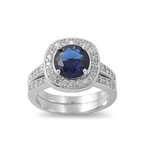 Rings $57.78 Round Blue Cubic Zirconia in Cushion Halo Matching Engagement Ring Set Sterling Silver Simulated Sapphire 3-carat, 50-100,