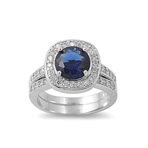 Image of Rings $57.78 Round Blue Cubic Zirconia in Cushion Halo Matching Engagement Ring Set Sterling Silver Simulated Sapphire 3-carat blue Bridal