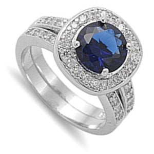Round Blue Cubic Zirconia in Cushion Halo Matching Engagement Ring Set Sterling Silver Simulated Sapphire