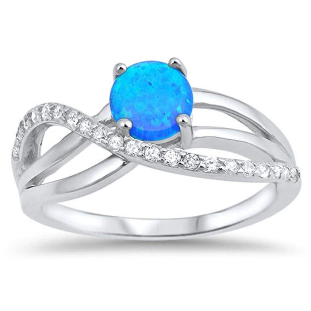 Rings $50.51 Round Blue Lab Opal with Clear CZ Knot Set in Sterling Silver Band Size 5-10 50-100, badge-toprated, blue, clear,