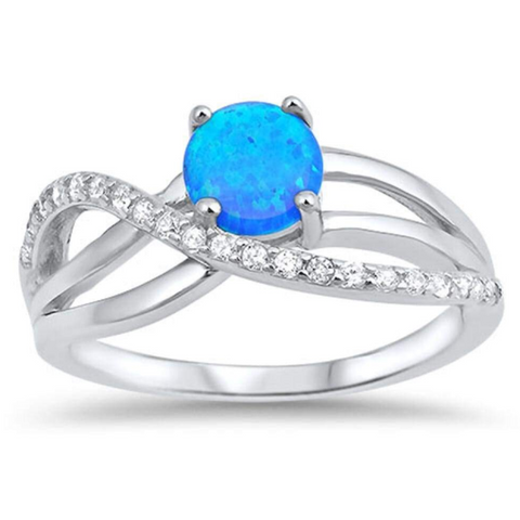 Image of Rings $50.51 Round Blue Lab Opal with Clear CZ Knot Set in Sterling Silver Band Size 5-10 50-100, badge-toprated, blue, clear,